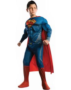 Fato de Superman Homem de Aço musculoso para menino